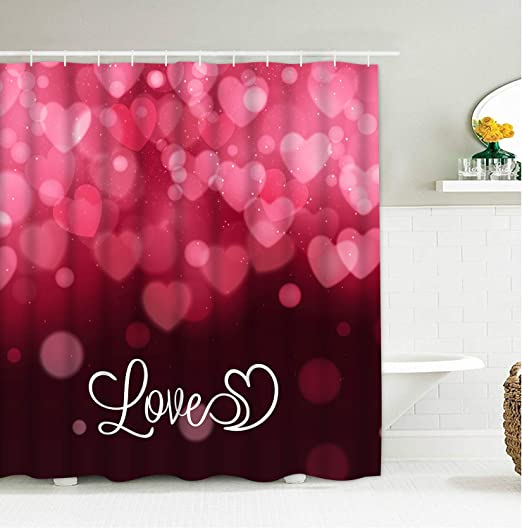 Romantic Pink Heart Balloons KOTOM Happy Valentines Day Shower Curtain Polyester Fabric Bath Curtains with Hooks 69W X 70L Inches
