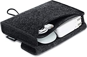 NIDOO Portable Felt Storage Bag, Electronics Accessories Protective Case Pouch for MacBook Power Adapter, Mouse, Cellphone, Cables, SSD, HDD, Power Bank, Portable External Hard Drive, Dark Gray