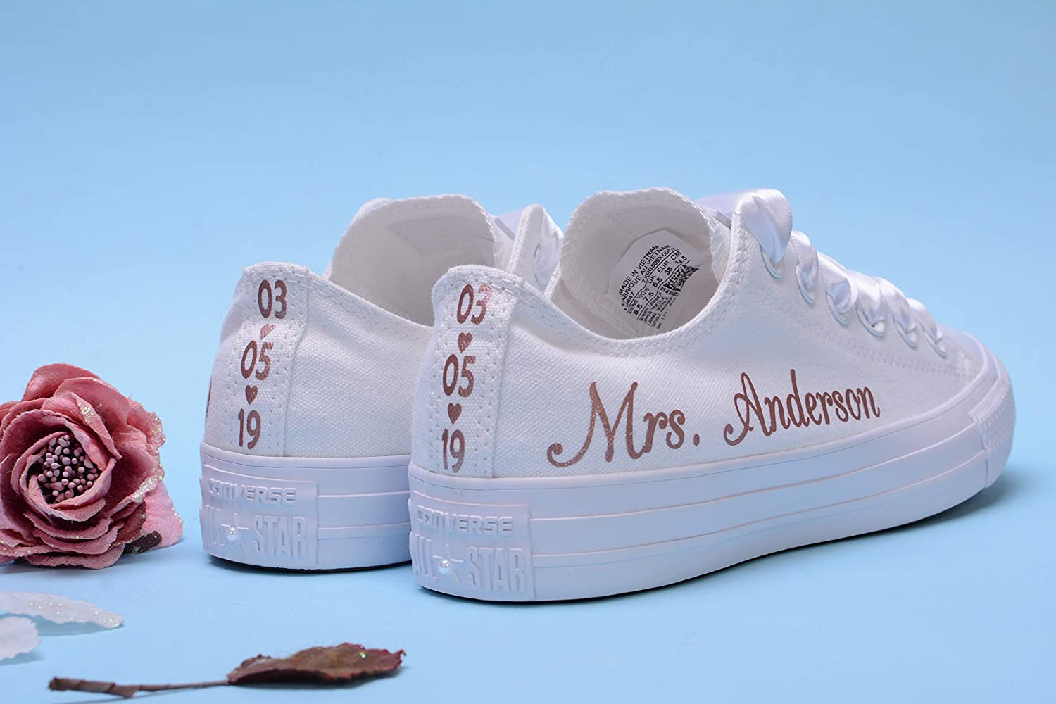 df2b687b54057 Amazon.com: Rose Gold Foil Personalized Wedding Sneakers For Bride ...