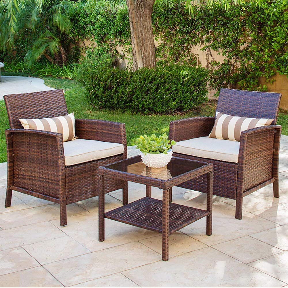 Amazon com solaura 3 piece outdoor furniture brown wicker bistro set light brown cushions classic gold stripe throw pillows coffee table garden