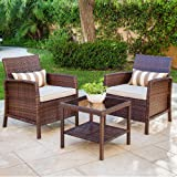 Solaura 3-Piece Outdoor Furniture Brown Wicker