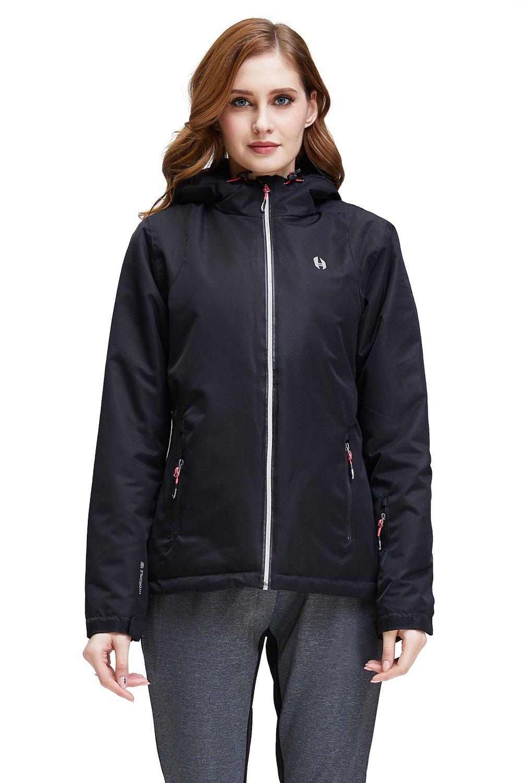 Helzkor Women's Waterproof Ski, Snow and Wind Jacket with Hood - Black, M
