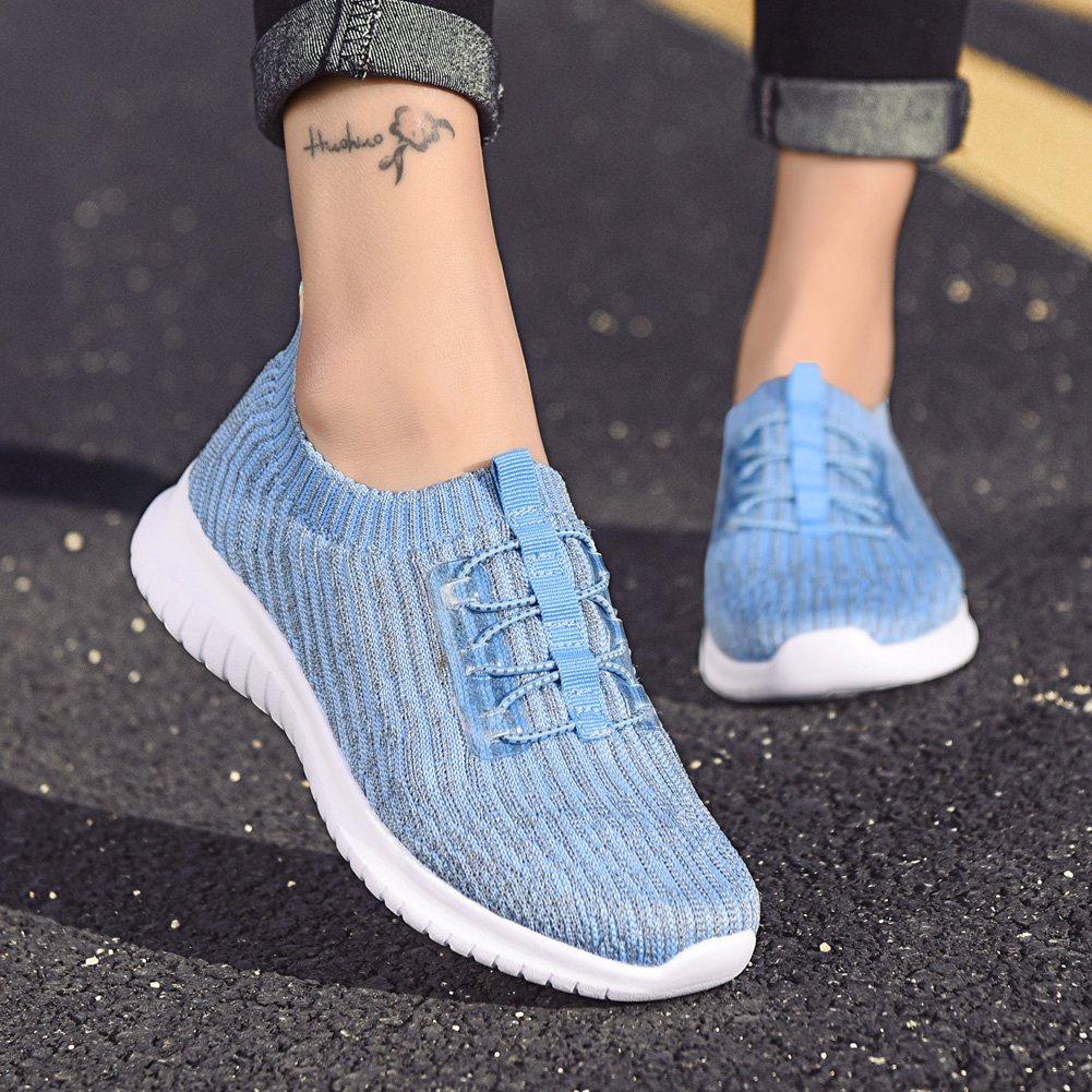 TIOSEBON Women's Lightweight Casual Walking Athletic Shoes Breathable Flyknit Running Slip-On Sneakers B07B4T53H5 9 B(M) US|2122 Light Blue