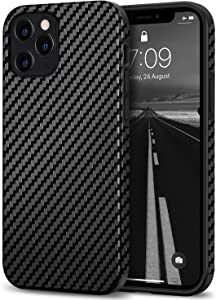 Tasikar Compatible with iPhone 12 Case/iPhone 12 Pro Case Carbon Fiber Leather Design with TPU Hybrid Slim Case Compatible for iPhone 12 & iPhone 12 Pro (Black)