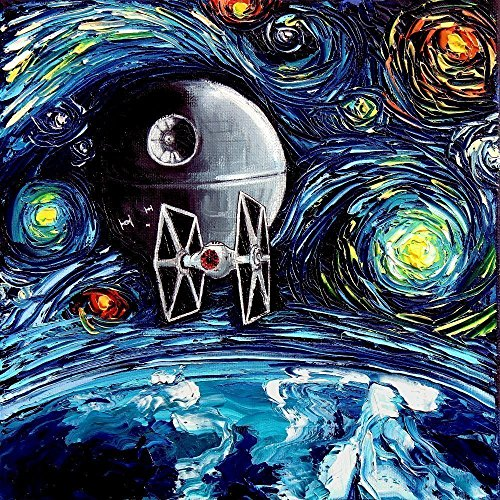 Science Gallery - Art PRINT Space Art Death Star Starry Night van Gogh Never Saw The Empire Art by Aja 8x8, 10x10, 12x12, 20x20, 24x24 inch sizes