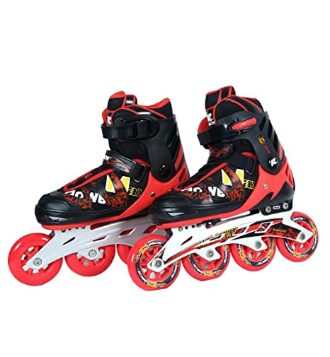 2bd19c5935a Buy Kamachi (90mm) K-707 Aluminium Inline Skates (Red/Black) Online at Low  Prices in India - Amazon.in