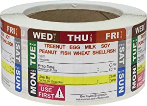 Removable Shelf Life Allergy Warning Labels for Food Rotation Use by Food Preparation Days of The Week Prep Date Stickers 2 x 3 Inch 500 Adhesive Stickers