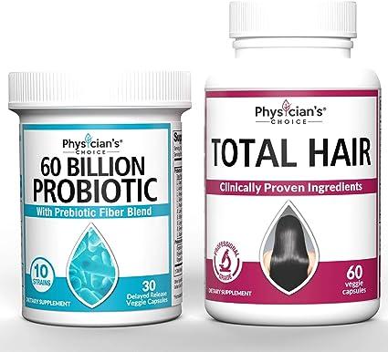 Amazon.com: Probiotics 60 Billion CFU & Hair Growth Vitamins Bundle | Hair  Growth Vitamins with Clinically Proven Ingredients) Award Winning Keratin,  Biotin and More: Health & Personal Care