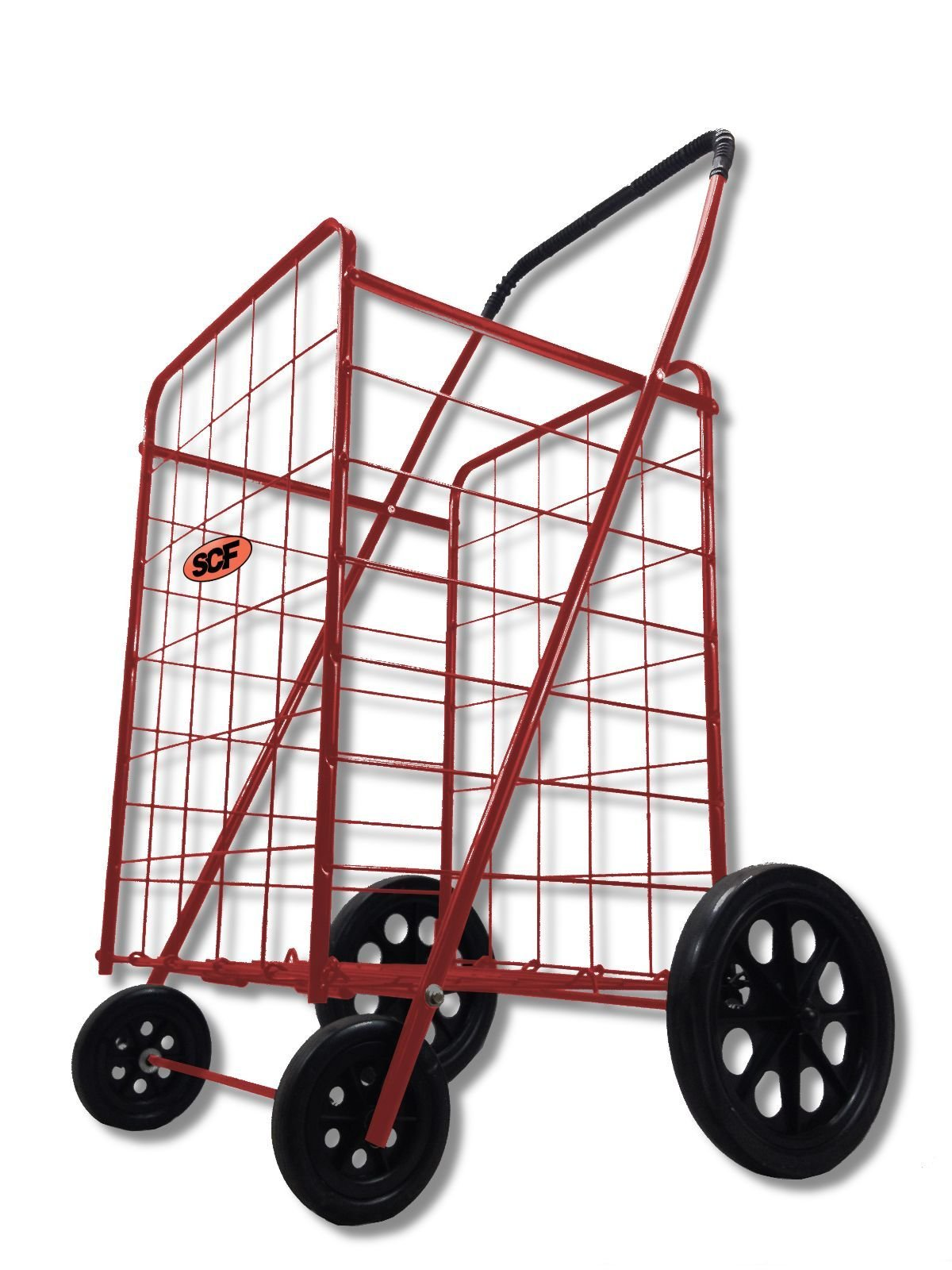 Extra Large Folding Shopping Cart Basket 4 Wheel Jumbo WITH FREE LINER AND CARGO NET by SCF (Red with Blue liner)
