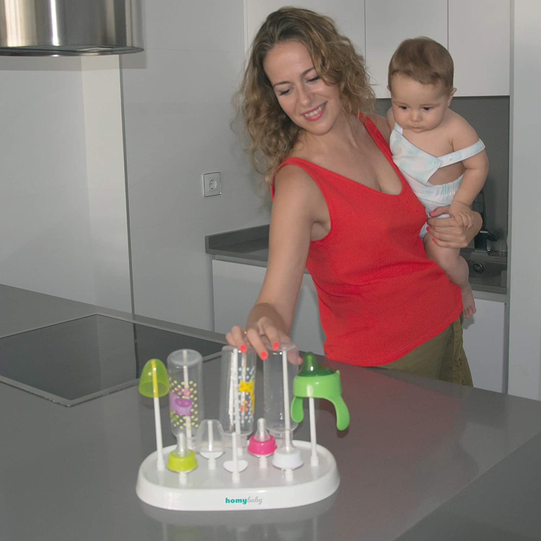 inklusive Babyflaschen Reiniger Homybaby Abtropfgestell hygienisch und Praktisch f/ür die Nachreinigung von Babyflaschen Trockenst/änder f/ür Flaschen und Babyzubeh/ör Flaschen Trockner Wei/ß