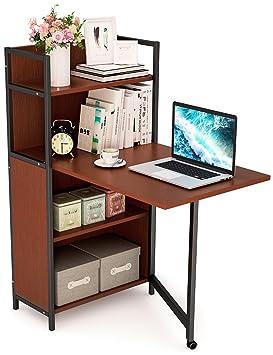 tribesigns plegable mesa de ordenador con estantería, PC portátil estudio escritorio con estantes de almacenamiento para pequeños Espacio: Amazon.es: ...