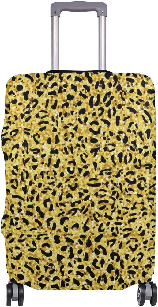 Shining Leopard Print Decor Traveler Lightweight Rotating Luggage Protector Case Can Carry With You Can Expand Travel Bag Trolley Rolling Luggage Protector Case