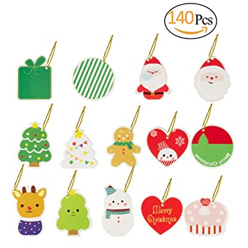 Christmas Gift Tags Diy.Biubee 140 Pcs Christmas Gift Tags 14 Assorted Designs Xmas Tags With String For Diy Holiday Gift Bags