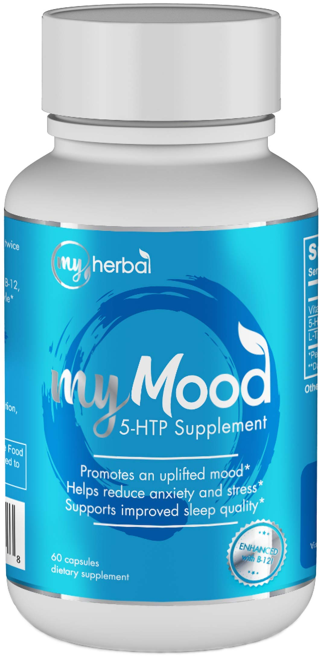 My Mood 5-HTP Premium Supplement 100mg, Natural Support for Positive Mood, Anxiety Relief, Stress Management, Improved Sleep | Enhanced with Vitamin B12 and L-Theanine, 60 Vegetable Capsules