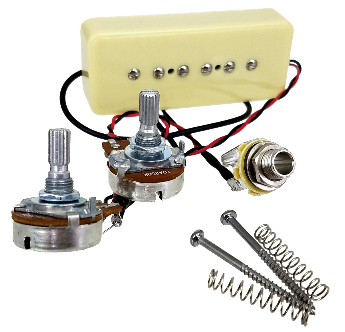 Soapbar P-90 Guitar Pickup Harness Pre-wired with Volume & Tone Pots - No Soldering Required!