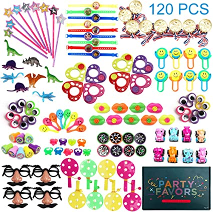 120PCS Carnival Prizes for Kids Birthday Party Favors Prizes Box Toy Assortment