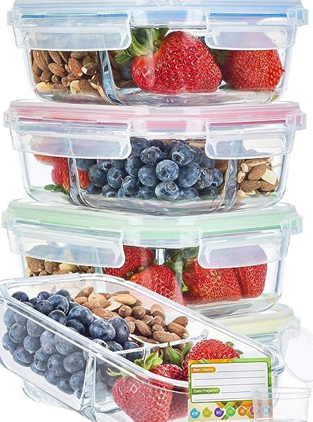 Amazon.com: Recipientes de vidrio para preparar la comida ...