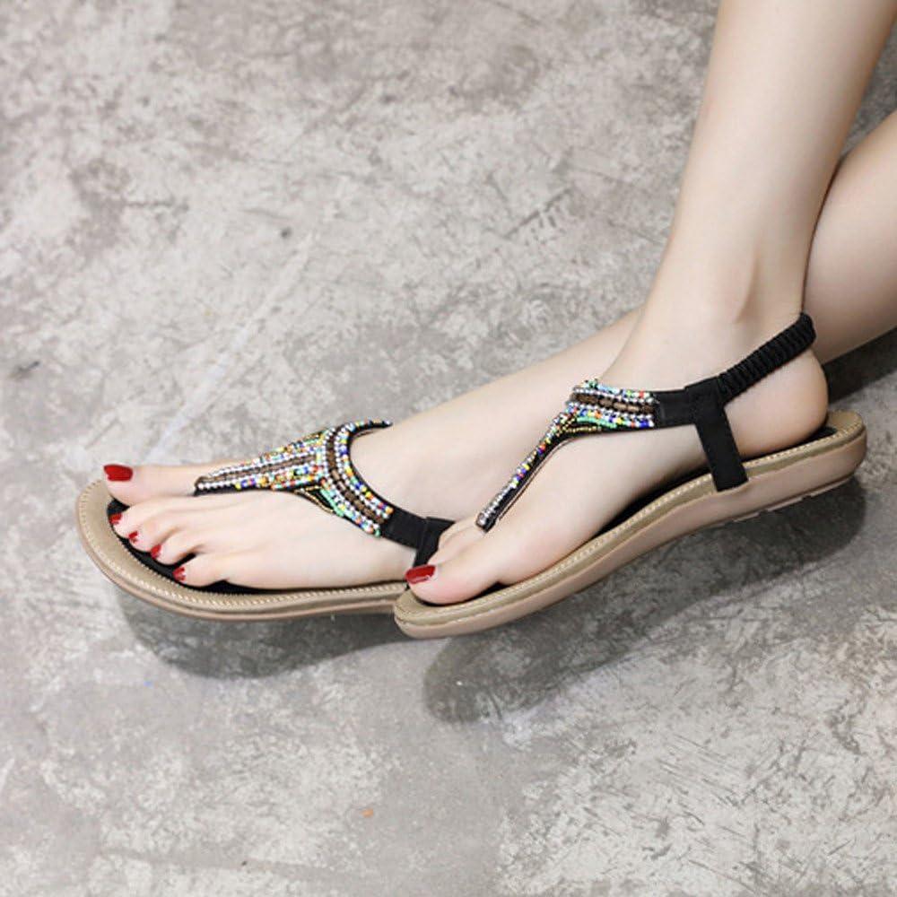 MILIMIEYIK Women Slide Sandal Womens Summer Beach Flat Sandals Bohemia Beaded T-Strap Rhinestone Slip On Sandalses Shoes