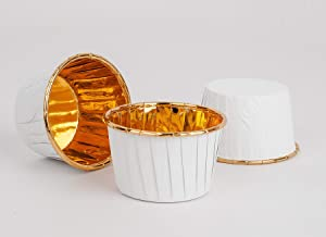 GOLDEN APPLE, Aluminum Foil Paper Mini Cake Baking Cups 50 Pack, Muffin Cupcake Baking Mold Cup Liners Baking Cups for Party Wedding Festival White in Gold