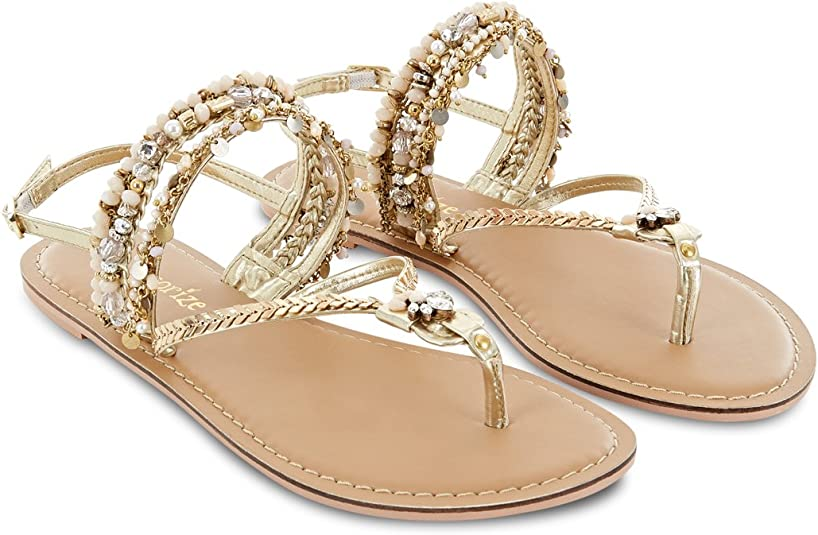 Martinique Beaded Sandals Gold Size