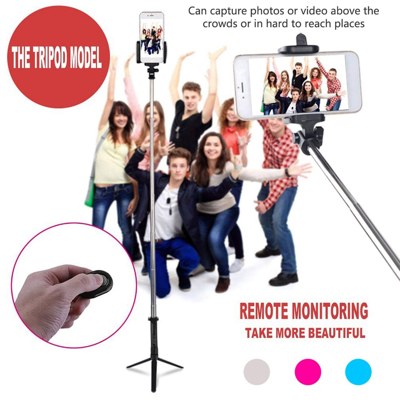Stainless Steel 4 in 1 Wireless Remote Shutter+Handheld Cellphone Selfie Stick Monopod+Tripod+Holder for iOS Android Smartphone