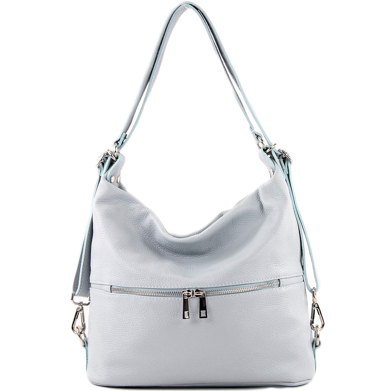 modamoda de – T189 – ital. dam ryggsäck väska 2 i 1 av läder Isblått