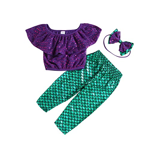 d125f72062539 Amazon.com  Toddler Girls Clothes Set Sequins Mermaid Crop Tops Fish Scale  Pants Outfit Headband  Clothing