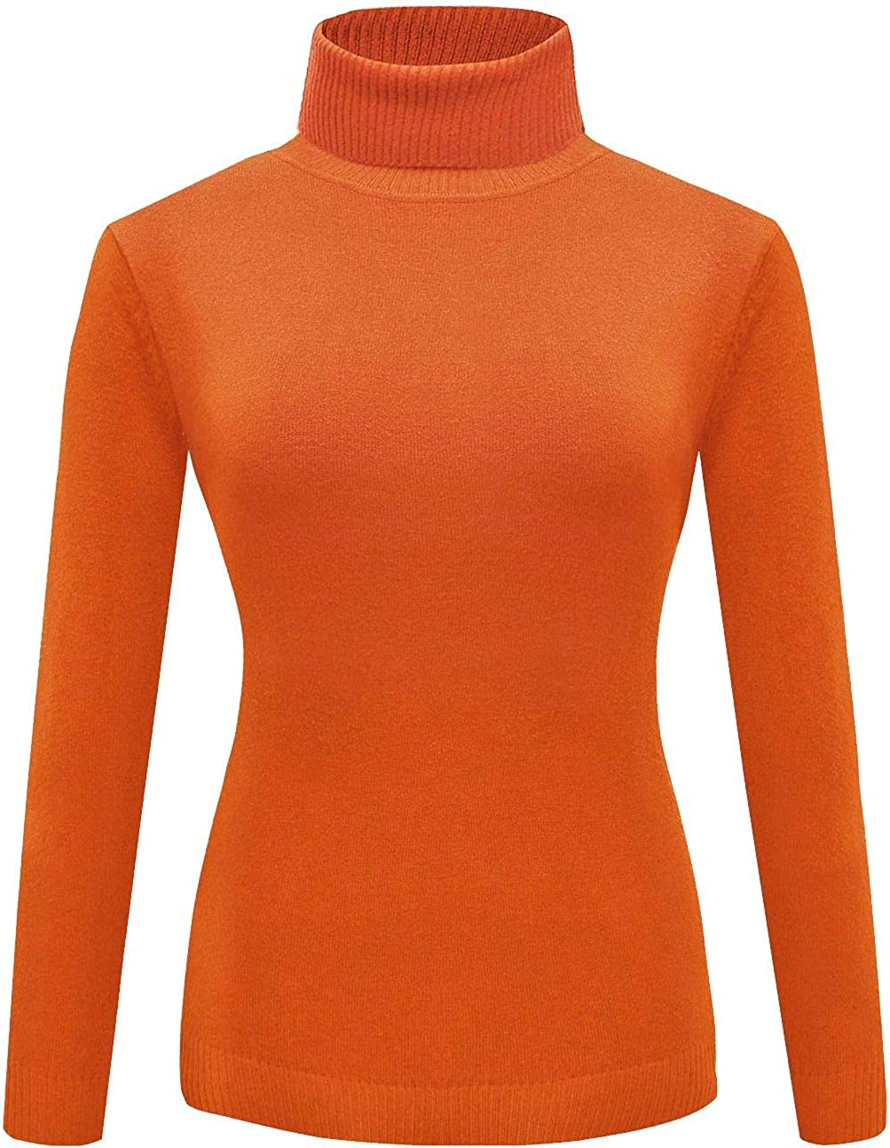 For G and PL Womens Halloween Velma Costume Orange Solid Turtleneck Knitted Sweatshirt