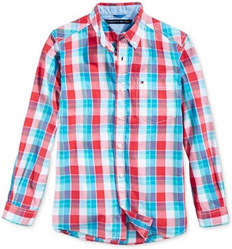 Tommy Hilfiger para niño camisa de manga larga colour turquesa colour azul claro colour blanco y rojo cuadriculado 104: Amazon.es: Bebé