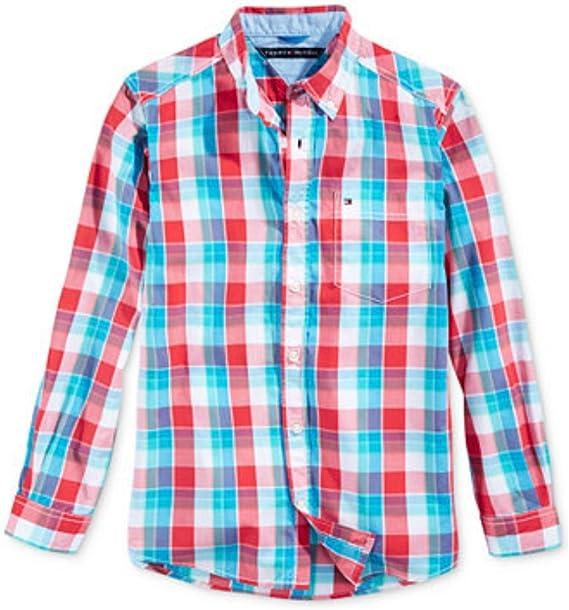 Tommy Hilfiger para niño camisa de manga larga colour turquesa colour azul claro colour blanco y rojo cuadriculado 98: Amazon.es: Bebé