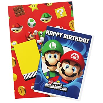 Super Mario Gift Wrap And Card Set  Amazon.co.uk  Office Products ff44b84f3