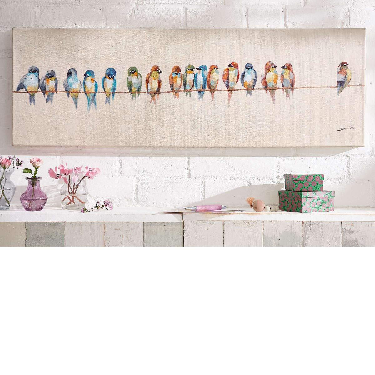 PuROTay Bild Birdies - Leinwandbild - Vögel - Handgemalt - ca. 90 x 30 cm