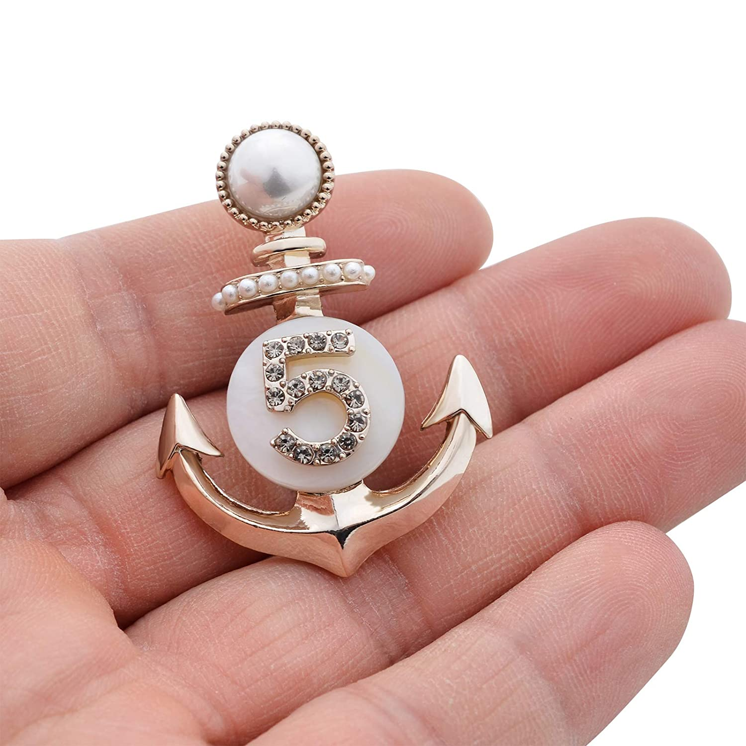 Fenni Vintage Crystal Pearl Nautical Anchor Number 5 Brooch Pin Lapel Pin for Men Women