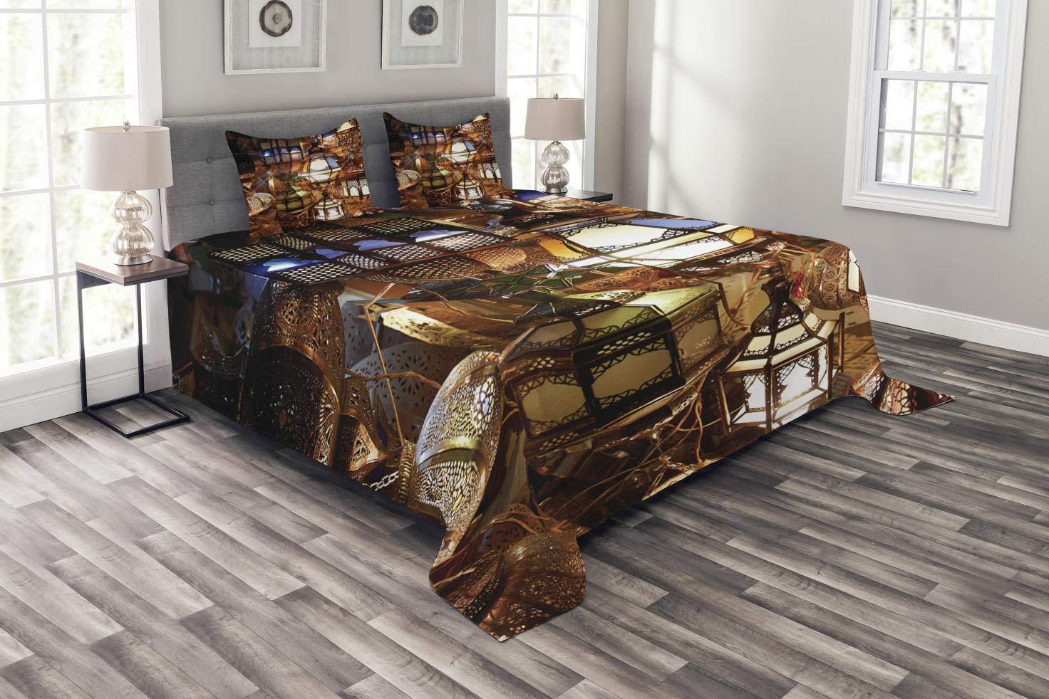 Abakuhaus marokkanisch Tagesdecke Set, Abend Arabisch Laterne, Set mit Kissenbezügen Romantischer Stil, für Doppelbetten 220 x 220 cm, Lila Braun Grün