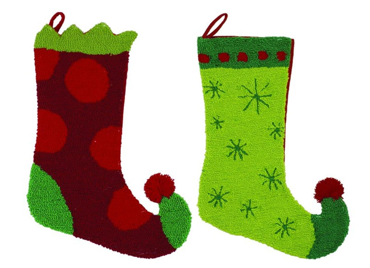 Pack of 4 Bright Red and Green Plush Elf Boot Christmas Stockings 17''