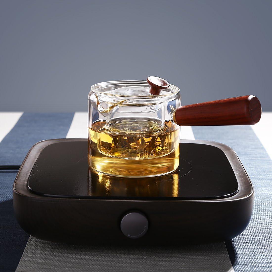 Oneisall GYBL458 Th/éi/ère en verre avec poign/ée en bois th/éi/ère durable avec filtre en verre pour la maison et le bureau 400 ml mini th/éi/ère /à th/é et /à caf/é
