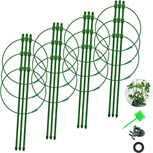 Aubliss 24'' Garden Trellis Plant Support Cage for Climbing Plants, 4-Pack, with Adjustable Hoops, PVC Detachable Buckle, Plant Clips and Plant Labels