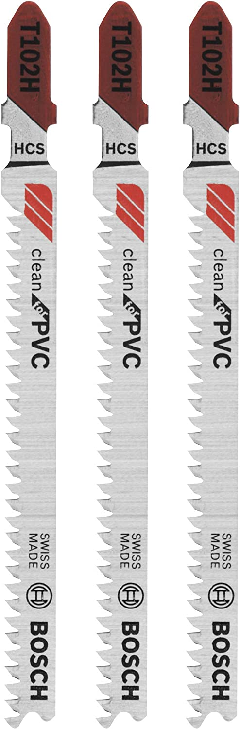 Bosch T102H 3-Piece 3 In. 10 TPI Clean for PVC High Carbon Steel Jig Saw Blades