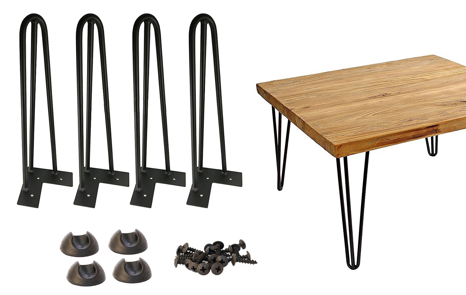 "16'' Hairpin Legs 3/8"" Thick Satin Black Three-Rod Mid Century Modern Set of 4 Heavy Duty Metal Table Legs w Wood Screws&Protector"