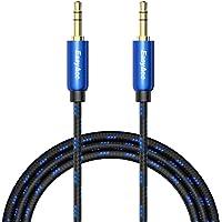 3.5mm Audio Cable, EasyAcc 1m/3.3ft Cable de Audio Auxiliar de Nailon Trenzado, con Conectores de 3.5 mm Macho a Macho con Baño de Oro, para iPhone, iPod, iPad, Samsung, Teléfonos Inteligentes, Tabletas y Altavoz - Negro y Azul