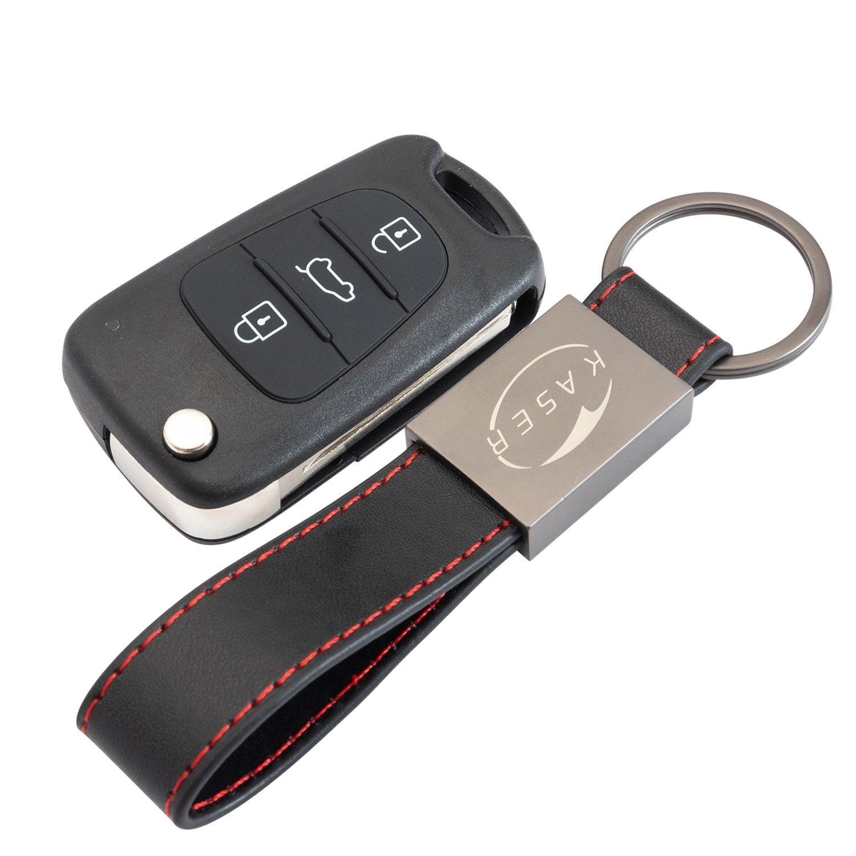 Carcasa Funda Llave Remoto Mando 3 Botones para Hyundai i20 i30 iX20 iX35 Tucson Santafe con Llavero de Cuero KASER