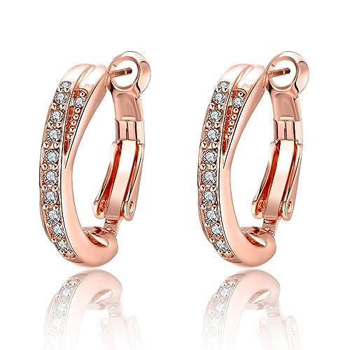 Souarts Women Rose Gold Color Round Rhinestone Hoop Earrings Christmas Gift Earrings