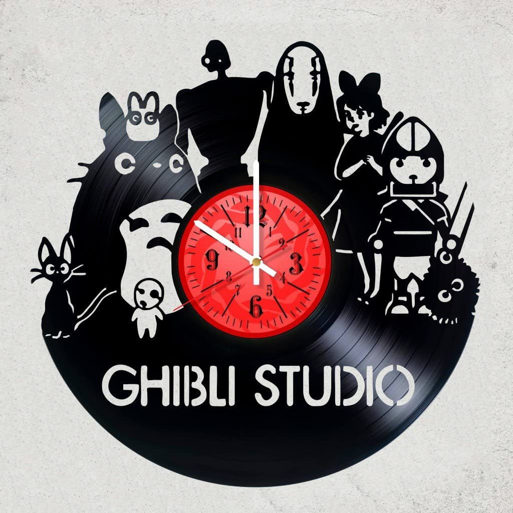 Home decor USA GHIBLI STUDIO VINYL RECORD WALL CLOCK - Amazing gift for your friend or you - Japanese animation film Ghibli studio - merchandise gifts for children bedroom decor anime