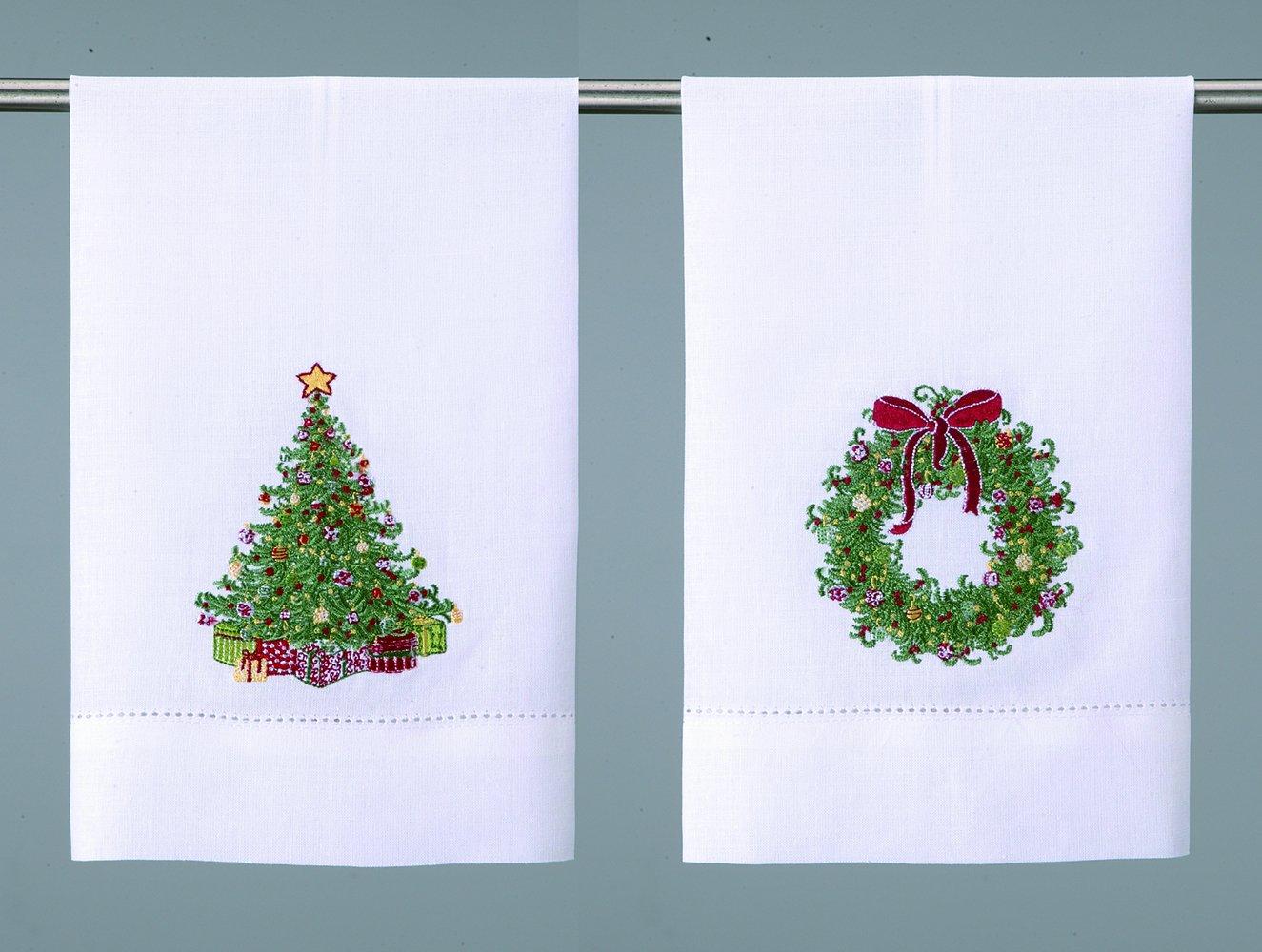 Corona de Navidad y árbol de Navidad bordado Navidad toallas de mano de - -Set de 2: Amazon.es: Hogar