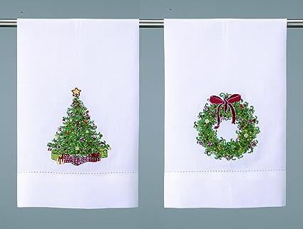 Corona de Navidad y árbol de Navidad bordado Navidad toallas de mano de – -Set