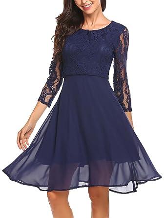 Finejo Damen Abendkleid Elegant Cocktailkleid Ballkleid Hochzeit festlich  kleid mit Spitze Chiffonkleid Partykleid knielang  Amazon.de  Bekleidung e9ef3c2322