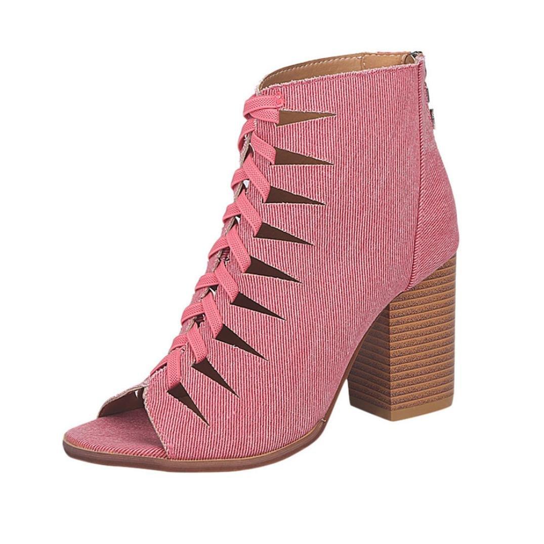 9f13b1682a4 DENER Women Ladies Girls Ankle Boots, Denim Hollow Out High Heel ...