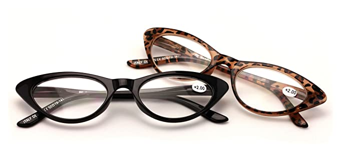 4d07a07fbf V.W.E. 2 Pairs Deluxe Female Cateye Vintage Reading Glasses Women Readers  (1 Black 1 Tortoise