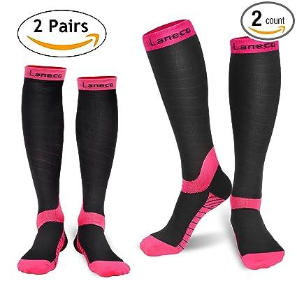 5de2f3aabb3 Amazon.com  Laneco Compression Socks for Women   Men (2 Pairs ...
