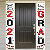 Bunny Chorus Graduation Porch Sign Set, Congrats Grad Class of 2021 Home for Outdoor Indoor, Red Black Hanging Banner Yard Po